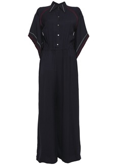 Roland Mouret Woman Clifford Embroidered Twill Wide-leg Jumpsuit Midnight Blue