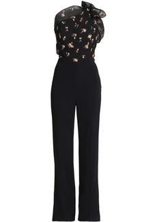 Roland Mouret Woman Colburn One-shoulder Embroidered Cloqué And Cady Jumpsuit Black