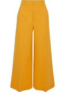 Roland Mouret Woman Costello Cropped Wool-crepe Wide-leg Pants Marigold