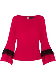 Roland Mouret Woman Crochet-trimmed Wool-crepe Top Crimson