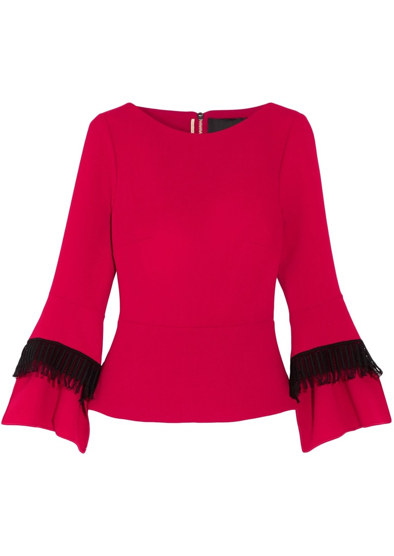 Roland Mouret Woman Crochet-trimmed Wool-crepe Top Crimson