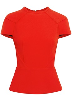 Roland Mouret Woman Cymatia Stretch-crepe Peplum Top Red