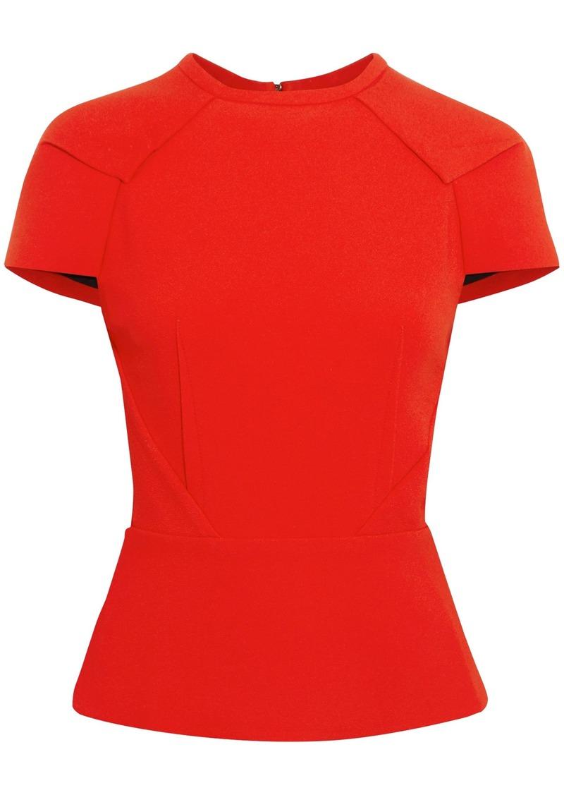 Roland Mouret Woman Cymatia Stretch-crepe Peplum Top Red