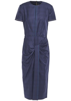Roland Mouret Woman Dalva Gathered Prince Of Wales Checked Wool And Silk-blend Midi Dress Navy