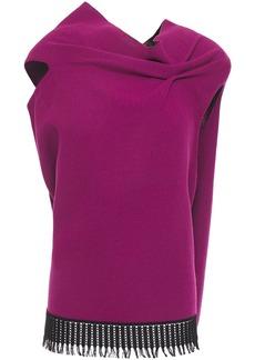 Roland Mouret Woman Eugene Open-back Crochet-trimmed Draped Wool-crepe Top Violet