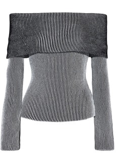 Roland Mouret Woman Finney Off-the-shoulder Striped Ribbed-knit Top Black