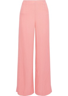 Roland Mouret Woman Glover Embroidered Cloqué Wide-leg Pants Baby Pink