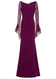 Roland Mouret Woman Hafren Lace-paneled Stretch-crepe Gown Violet