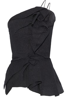 Roland Mouret Woman Hankow One-shoulder Ruffled Silk-blend Cloqué Top Black