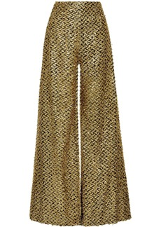 Roland Mouret Woman Harrison Metallic Fil Coupé Wide-leg Pants Gold