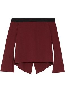 Roland Mouret Woman Heaney Off-the-shoulder Draped Stretch-crepe Top Burgundy