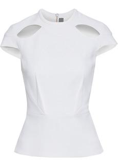 Roland Mouret Woman Hendra Cutout Wool-crepe Peplum Top White