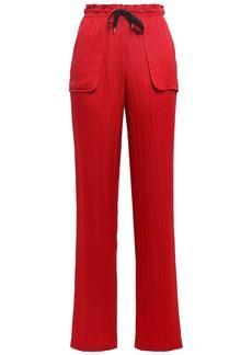 Roland Mouret Woman Huddersfield Hammered Silk-satin Straight-leg Pants Claret