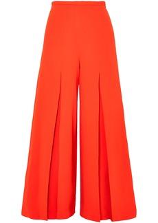 Roland Mouret Woman Huggate Pleated Cady Wide-leg Pants Orange