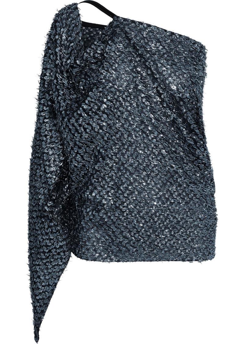 Roland Mouret Woman Kara One-shoulder Metallic Fil Coupé Top Light Blue