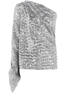 Roland Mouret Woman Kara One-shoulder Sequined Stretch-knit Top Silver