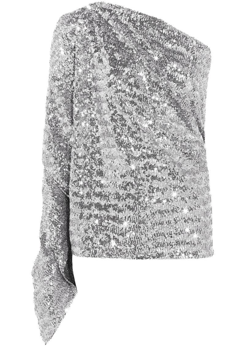 Roland Mouret Woman Kara One-shoulder Sequined Stretch-knit Top Silver