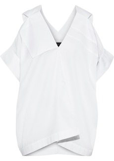Roland Mouret Woman Cold-shoulder Piqué-trimmed Pintucked Cotton Top White