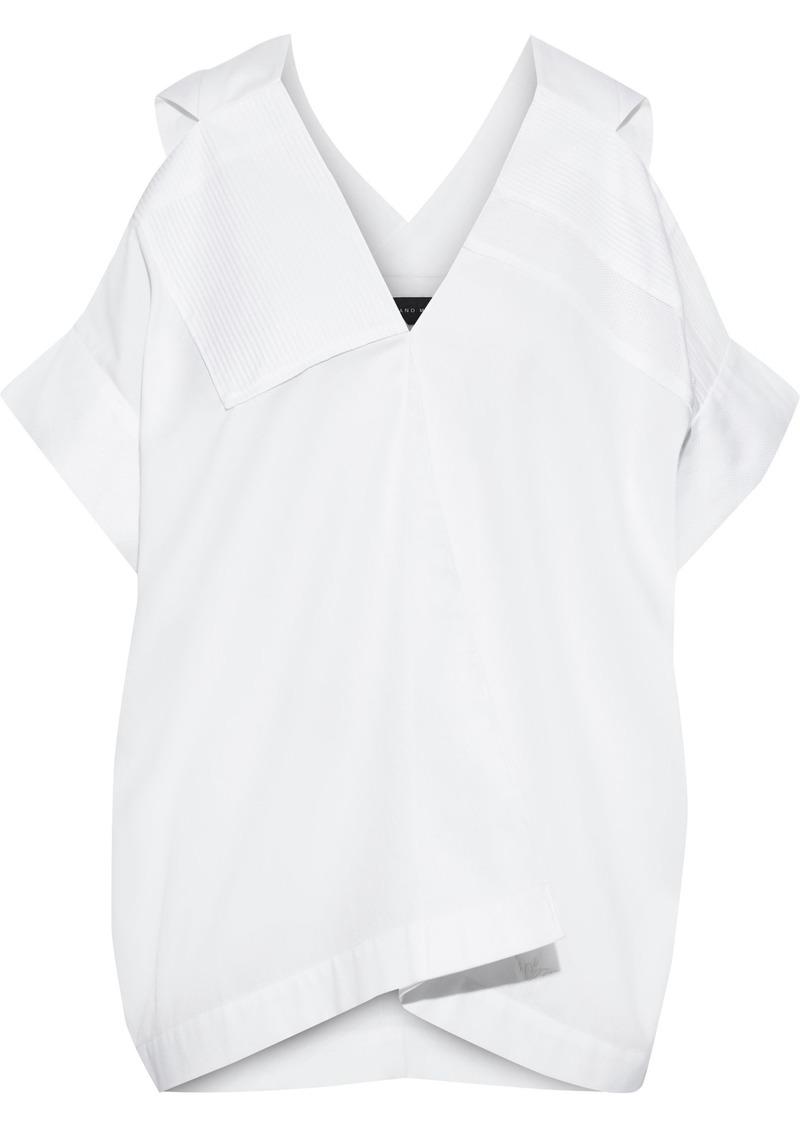 Roland Mouret Woman Cold-shoulder Piqué-trimmed Pintucked Cotton Top White