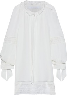 Roland Mouret Woman Lolo Lace-trimmed Ruffled Silk Crepe De Chine Blouse Off-white