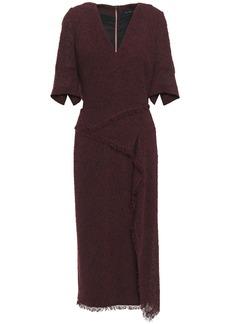 Roland Mouret Woman Marengo Draped Wool-blend Bouclé Midi Dress Burgundy