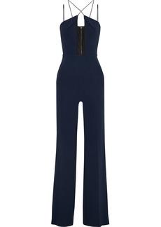 Roland Mouret Woman Mesh-paneled Crepe Jumpsuit Navy