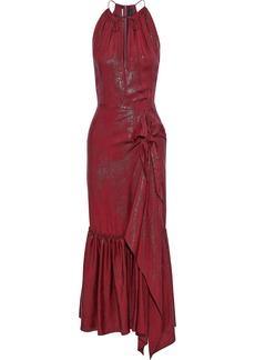 Roland Mouret Woman Miranda Asymmetric Silk-blend Lamé-jacquard Midi Dress Merlot