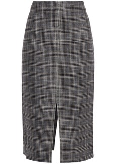 Roland Mouret Woman Moka Checked Bamboo Pencil Skirt Anthracite