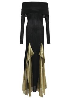 Roland Mouret Woman Off-the-shoulder Draped Plissé Silk-blend Gown Black