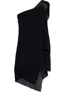 Roland Mouret Woman One-shoulder Draped Silk-cloqué Top Black
