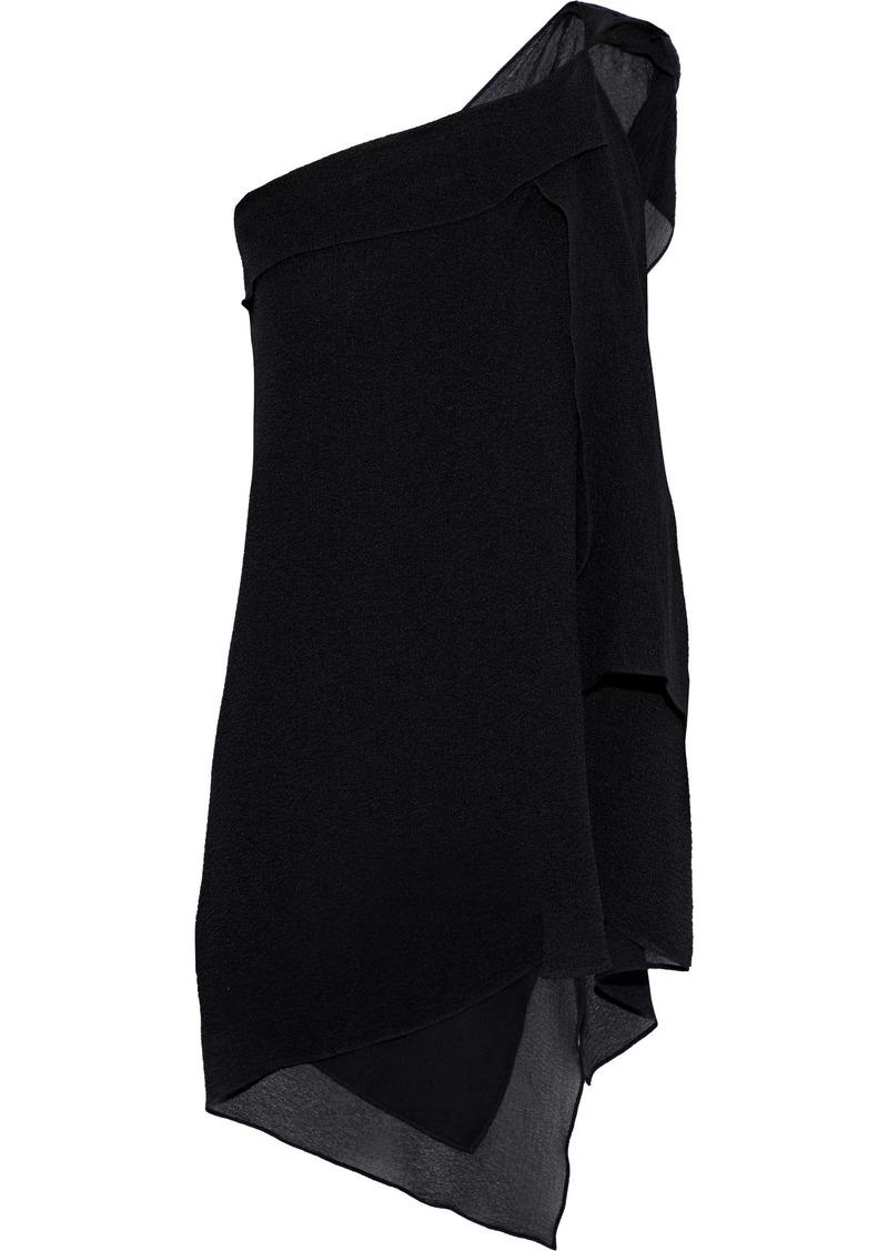 Roland Mouret Woman One-shoulder Draped Silk-cloqué Top Black