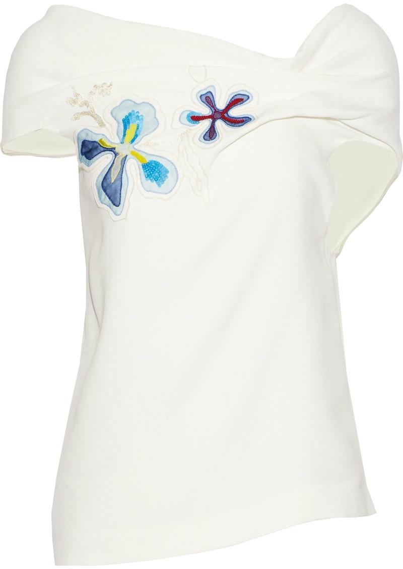 Roland Mouret Woman Open-back Embellished Crepe Top White