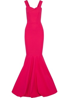 Roland Mouret Woman Orpheus Fluted Stretch-cotton Cady Gown Fuchsia