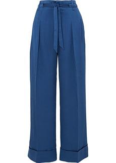 Roland Mouret Woman Perkins Silk-blend Jacquard Wide-leg Pants Royal Blue