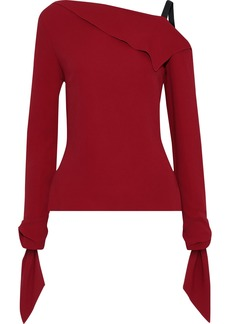Roland Mouret Woman Russell Draped Crepe Top Claret