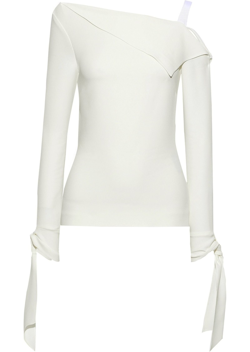 Roland Mouret Woman Russell Draped Crepe Top Ivory