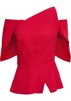 Roland Mouret Woman Scott One-shoulder Cutout Stretch-crepe Top Crimson