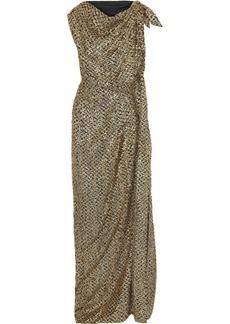 Roland Mouret Woman Silvabella Draped Metallic Fil Coupé Chiffon Gown Gold