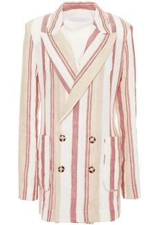 Roland Mouret Woman Talbot Double-breasted Striped Jacquard Blazer Ecru