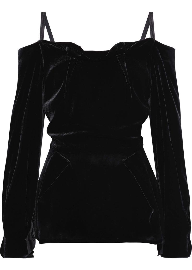 Roland Mouret Woman Walston Cold-shoulder Velvet Top Black