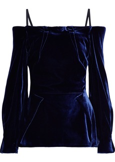 Roland Mouret Woman Walston Cold-shoulder Velvet Top Navy