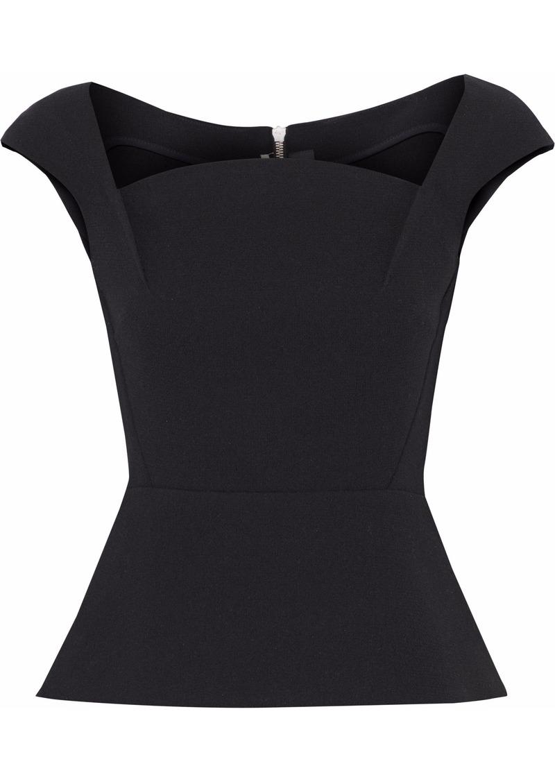 Roland Mouret Woman Wool-crepe Peplum Top Black