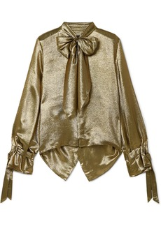 Roland Mouret Royce Pussy-bow Cutout Metallic Silk-blend Blouse