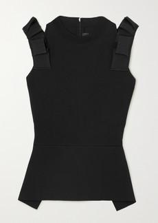 Roland Mouret Summerhill Cold-shoulder Ruffled Stretch-knit Peplum Top
