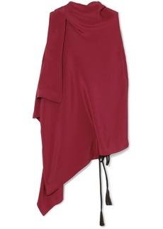 Roland Mouret Tavistock Draped Asymmetric Silk-crepe Marocain Top