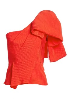 Roland Mouret Toulon One-Shoulder Silk Blouse