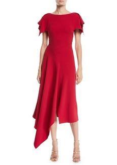 Roland Mouret Warren Flutter-Sleeve Round-Neck Calf-Length Dress w/ Handkerchief Hem