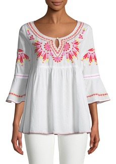 Romeo & Juliet Couture 3/4-Sleeve Embroidered Tunic