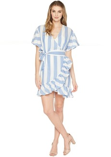 Romeo & Juliet Couture Big Stripe Wrap Dress w/ Tie-Up Waist