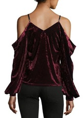 Romeo & Juliet Couture Cold-Shoulder Crushed Velvet Blouse